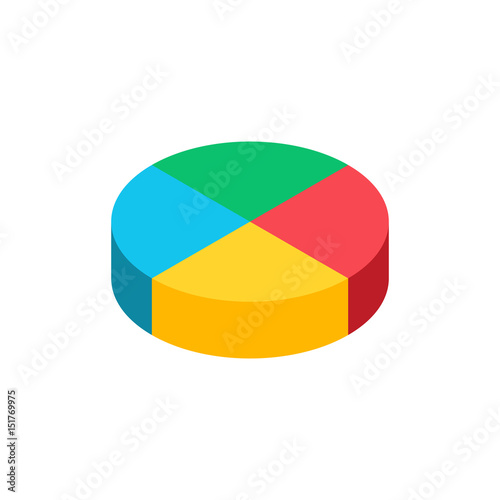 Bulk isometric pie graph  Template realistic three