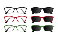 Set Of Red, Black And Green Gl...