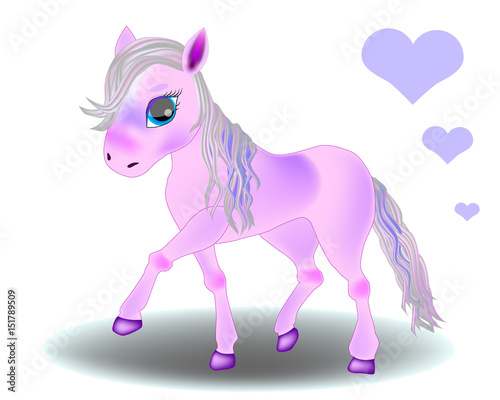 Cute cartoon little pink baby horse Canvas Print
