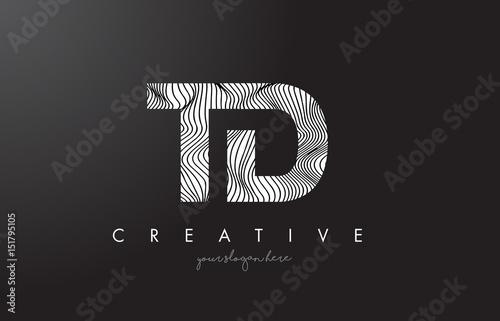 Td T D Letter Logo With Zebra Lines Texture Design Vector Buy