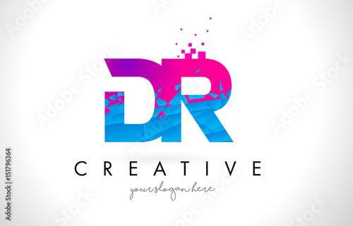 Cuadros en Lienzo DR D R Letter Logo with Shattered Broken Blue Pink Texture Design Vector