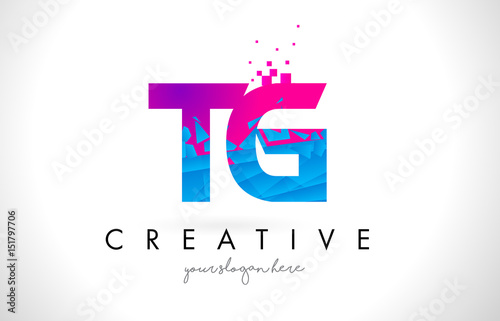 Tg T G Letter Logo With Shattered Broken Blue Pink Texture