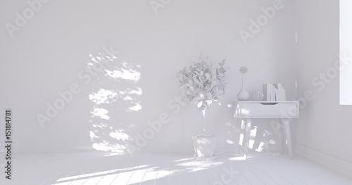 Fototapety, obrazy: White empty room. Scandinavian interior design. 3D illustration