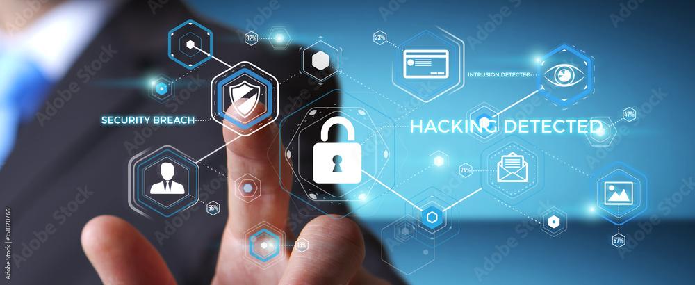 Fototapeta Businessman using antivirus to block a cyber attack 3D rendering