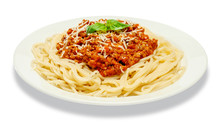 Spaghetti Bolognese On A White Plate