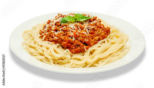 Fotografiet Spaghetti bolognese on a white plate