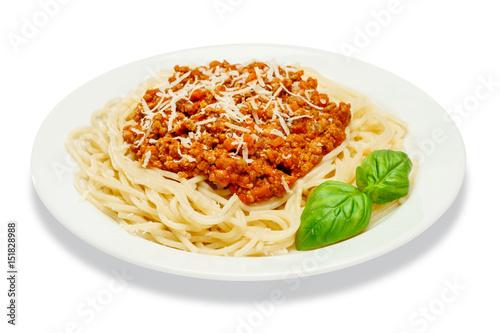 Photo Spaghetti bolognese on a white plate