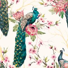 Watercolor Peacock Vector Patt...
