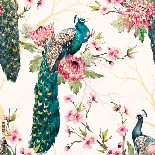 Watercolor peacock vector pattern Canvas-taulu