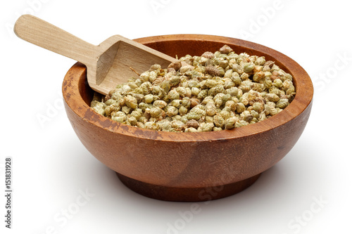 Thyme in wooden bowl with scoop