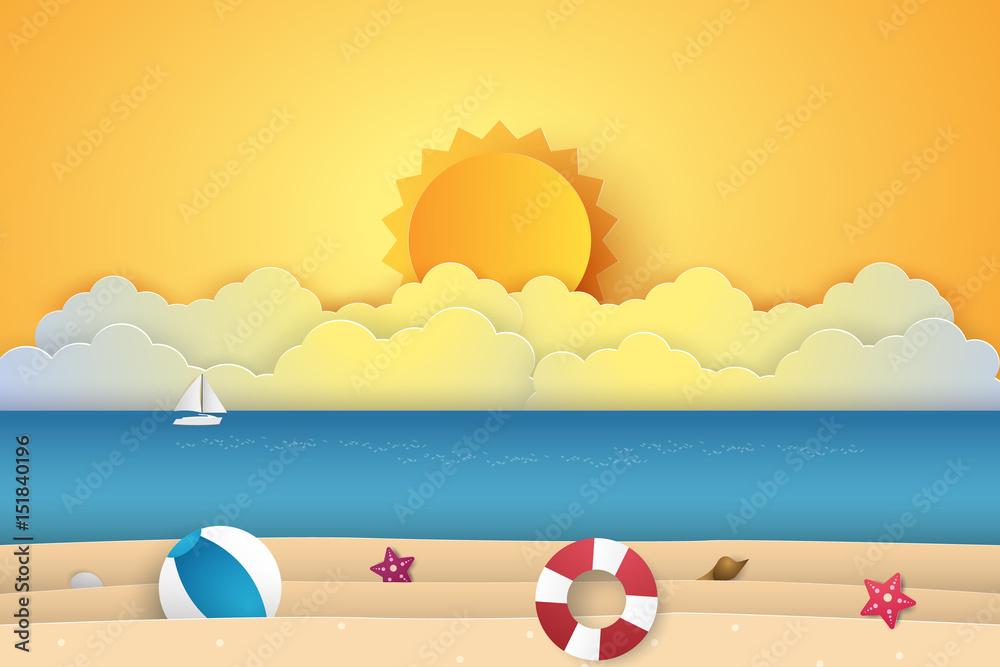 Czas letni, morze z plażą, styl papieru <span>plik: #151840196 | autor: Supakrit</span>