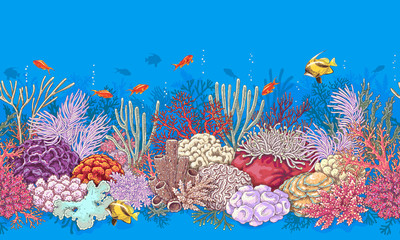 Fototapeta na wymiar Coral Reef and Fishes Pattern