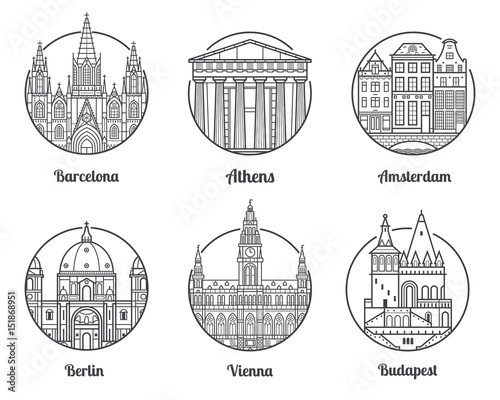 Main Europe Cities Icons Including Barcelona Athens Amsterdam