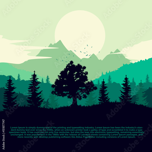 Aluminium Prints Green coral Dawn over land with silhouette of forest, mountains and clouds on the sky