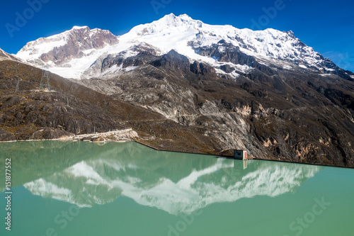 Foto op Canvas Natuur Zongo dam, located in Zongo pass in the altitude of 4700m, Bolivia. Peak of Huayna Potosi mountain in the background.