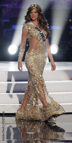 Miss Venezuela 2011 Goncalves presents her evening gown during the ...