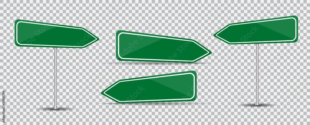Fototapeta Road Sign Isolated on transparent background Blank green arrow traffic. Vector Illustration.
