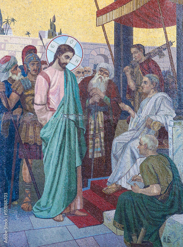 Obraz na plátně Mosaic of Jesus and Pontius Pilate on Good Friday