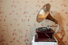 Vintage Gramophone Plays A Record