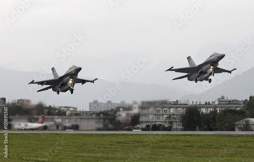 Taiwan Air Force's F-16 fighter jets take off during a