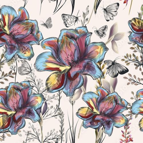 Kwiat wektor wzór z roślin. Styl vintage prowokacji