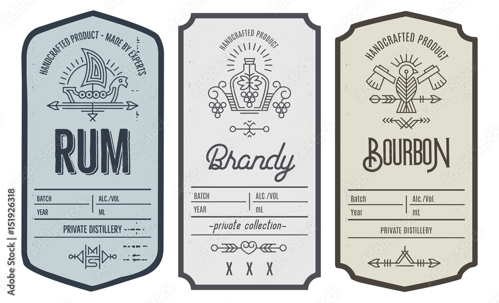 Fototapeta Set of intage bottle label design with ethnic elements in thin line style.