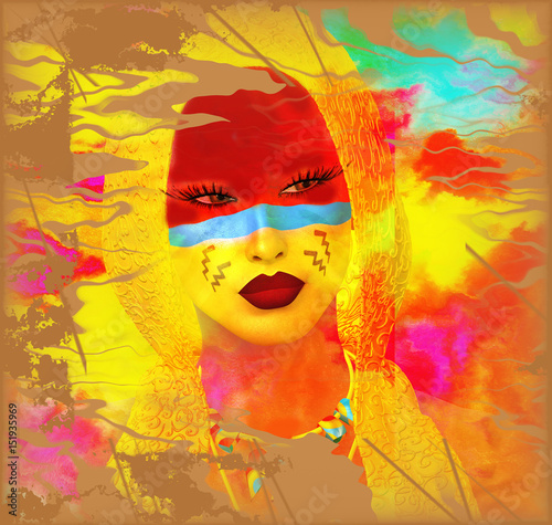 Native American Woman With Abstract Colorful Painted Face In