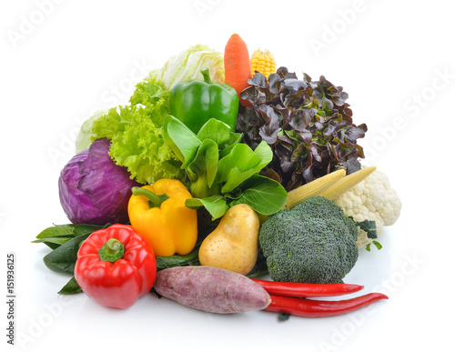 Cuadros en Lienzo  vegetables and fruits on white background
