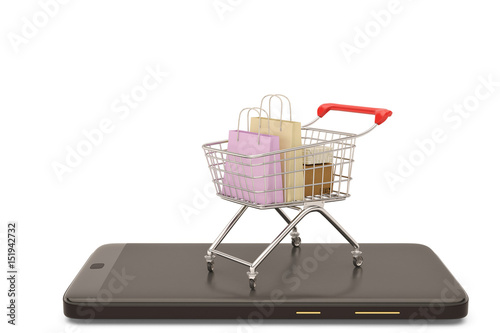 2b6cd7949 Online shopping concept mobile phone or smartphone with cart and boxes and  bag.3D illustration