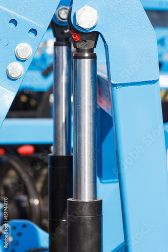 Detail of pneumatic or hydraulic machinery, technology and engineering concept Canvas Print