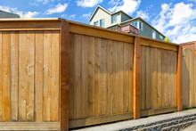 House Backyard Wood Fence With...