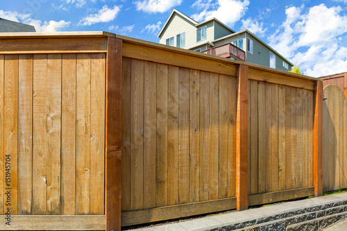 Tablou Canvas House Backyard Wood Fence with Gate