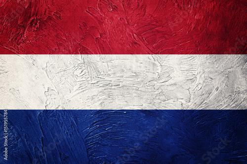 Canvas Print Grunge Nederland flag. Nederlands flag with grunge texture.