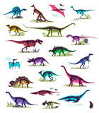 Fototapeta Dinusie - Set, silhouettes, dino skeletons, dinosaurs, fossils. Hand drawn vector illustration. Comparison of sizes, realistic Sketch collection: diplodocus, triceratops, tyrannosaurus, doodle pattern...