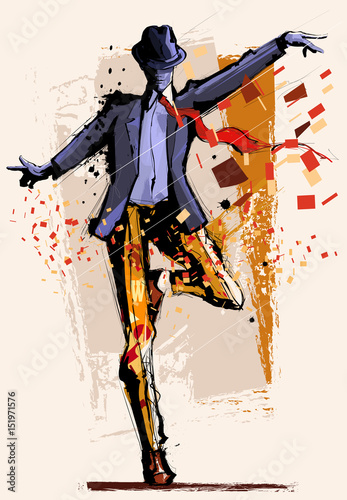 Deurstickers Art Studio Man dancing over grunge background