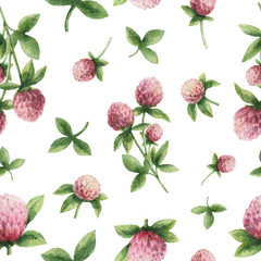 Panel Szklany Przyprawy Hand drawn watercolor seamless pattern of Red clover.