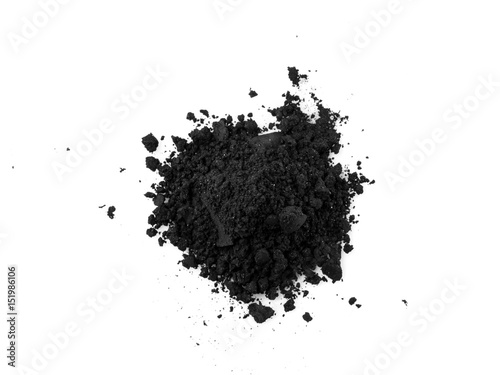 Activated charcoal capsule and power isolated on white Canvas Print