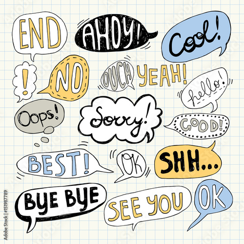 Hand drawn set of speech bubbles with handwritten text: Bye Bye,Sorry, See You, Wallpaper Mural