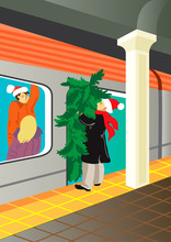 Merry Christmas / Creative Conceptual Christmas Vector. Man In A Subway With A Christmas Tree.