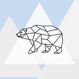 Vector illustration polar bear stylized triangle polygonal model. - 151993593