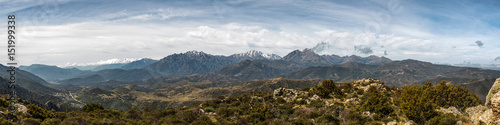 Fotografija  Panoramic view of snow capped mountains of northern Corsica