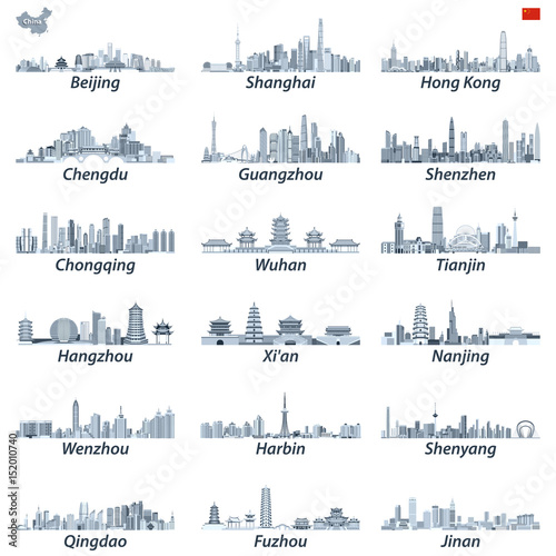 Fotografie, Obraz  chinese largest city skylines in tints of blue color palette with map and flag o