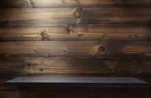 Brown Wooden Shelf Background