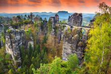 Famous Stone Bridge Named Bastei In Germany, Saxon Switzerland, Europe