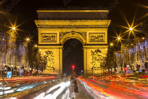Arch of Triumph and Champs Elysees, Paris Canvas Print