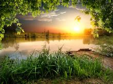 Fishing Lake In Evening