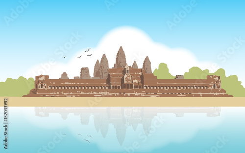 Foto  Vector illustration of Angkor Wat temple , Siem Reap, Cambodia