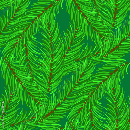 Ingelijste posters Tropische Bladeren Winter Fir Green Branches Seamless Pattern. Christmas Background