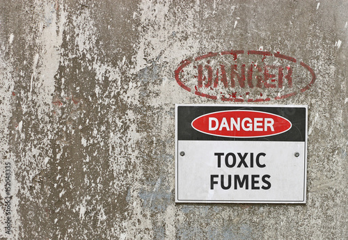 red, black and white Danger, Toxic Fumes warning sign Canvas