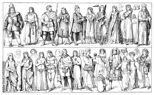 Medieval clothing, German traditional wear in XIV century, middle and upper clas Canvas Print